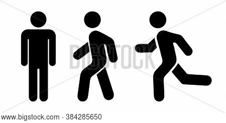 Man Stands, Walk And Run Icon Set. People Symbol. Person Standing, Walking And Running Illustration.