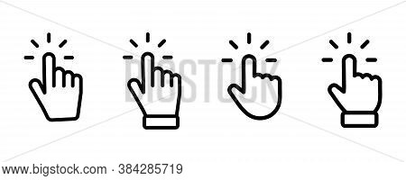 Set Of Hand Pointer Symbol In Trendy Flat Style. Computer Mouse Click Cursor. Click Cursor Collectio