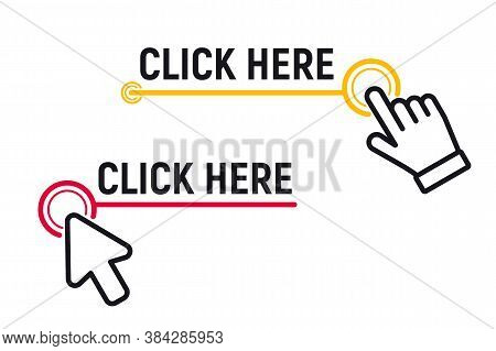 Click Here Button With Click Cursor. Set For Button Website Design. Click Button. Modern Action Butt
