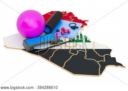 Fitness In Iraq. Gym Equipments On Iraqi Map. 3d Rendering Isolated On White Background