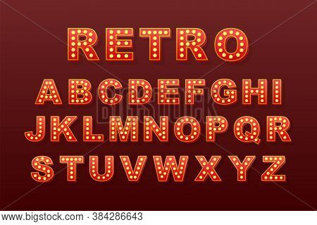 Retro Light Text, Great Design For Any Purposes. Vector Retro Light Bulb Alphabet. Vector Stock Illu
