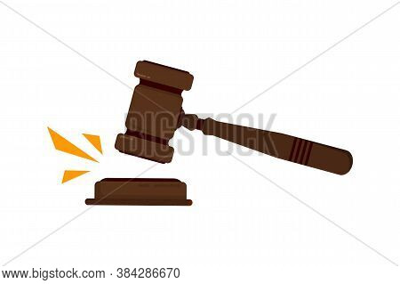 Judges Gavel. Judges Gavel Hammer For Adjudication Of Sentences And Bills, With A Wooden Stand. Law