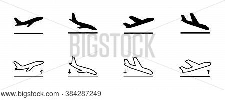 Arrivals And Departure Plane Signs. Airport Sign. Simple Icons, Airplane Landing And Takeoff. Airpor
