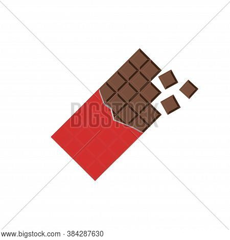 Chocolate Bar In Wrapper, Simple Illustration In Flat.