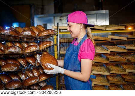A Female Baker Is At The Workplace At The Bakery. A Professional Baker Holds Bread In His Hands. Bre