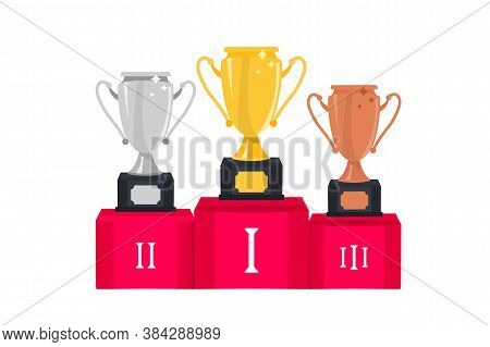 Gold, Silver And Bronze Winners Cup. Trophy Cup. First Place Award. Winners Trophy. Award For Taking