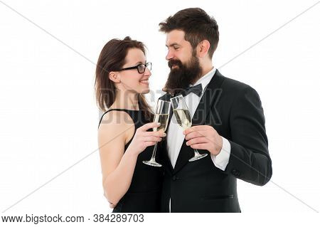 Couple In Love. Couple Drink Champagne. Charity Event For Toffs. Celebrate Special Occasion. Confide