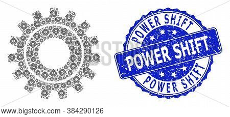Power Shift Scratched Round Stamp Seal And Vector Recursive Mosaic Cog. Blue Seal Includes Power Shi