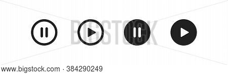 Play And Pause Button, Line Simple Icon. Stop Illustration Concept In Vector Flat