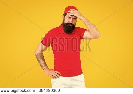 Forgot About Your Order. Hiring Shop Worker. Hipster Cashier. Delivery Service. Sorry. Man Bearded T