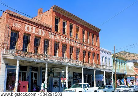 September 5, 2020 In Virginia City, Nv:  Historical Buildings Built In The 1800s On A Main Street In