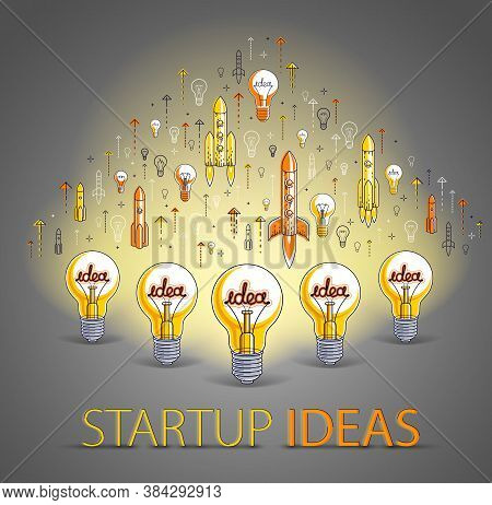 Group Of Shining Light Bulbs And Set Of Launching Rockets, Startup Ideas Concept, Teamwork, Creative