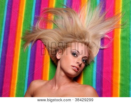 Blond Long Hair On Color Strips