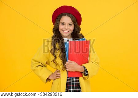 Diligent Student. Retro Girl Wear Uniform And Parisian Beret. Kid School Fashion. Cheerful Child Rea
