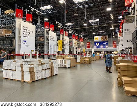 Orlando,fl/usa- 8/25/20: A View Of The Warehouse Where People Shop For Furniture At An Ikea Store In