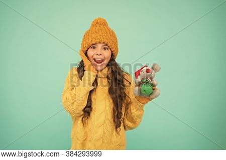 Girl Sincere Emotional Child Hold Rat Or Mouse Toy. Come Play With Me. Happy Childhood. Rat Symbol Y