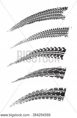 Tire Prints, Car Tyre Tracks Isolated Grunge Vector Marks. Auto Or Bike Race, Vehicle, Transportatio
