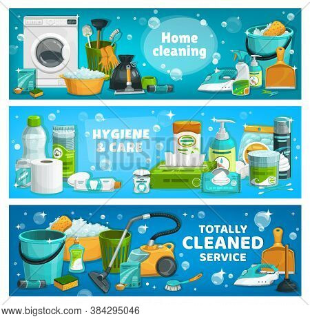 Housework Utensils And Laundry Tools. Vector House Cleaning Supplies Washing Machine, Basin With Foa