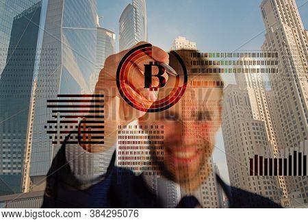 Man Interact Virtual Display Business Graphics. Create Bitcoin Wallet. Mining Crypto Currency Bitcoi