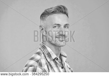 Perfect Male. Portrait Of Real Man. Mature Man Unshaven Face. Smiling Guy Pleasant Face. Male Skin A