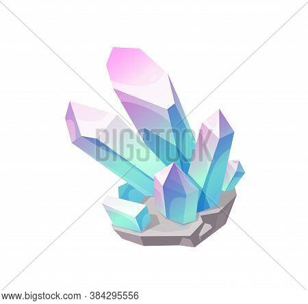 Magic Crystal Gem, Vector Blue With Pink Jewel Rock Mineral Stone. Isolated Natural Turquoise Gemsto