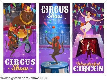 Circus Performers Vector Banners With Bear On Bike, Juggling Monkeys, Air Gymnast And Illusionist Pe