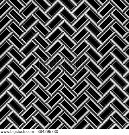 Herringbone Pattern. Rectangles Slabs Tessellation. Seamless Surface Design With Black Blocks Tiling