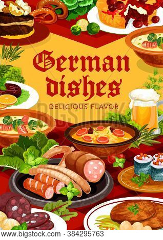 German Cuisine Dishes Vector Banner. Bavarian Blood Sausage, Stuffed Herring Rollmops And Soup With
