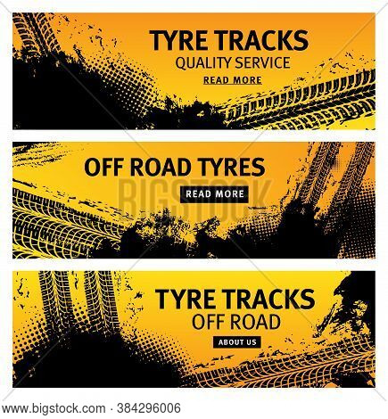 Tyre Tracks, Off Road Tire Prints, Grunge Vector Car Treads With Black Dotted Spots And Marks. Rally