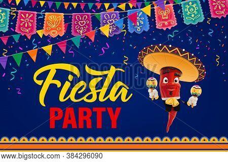 Mexican Fiesta Party Vector Poster. Cartoon Pepper Mariachi Character Mexico Musician In Sombrero An