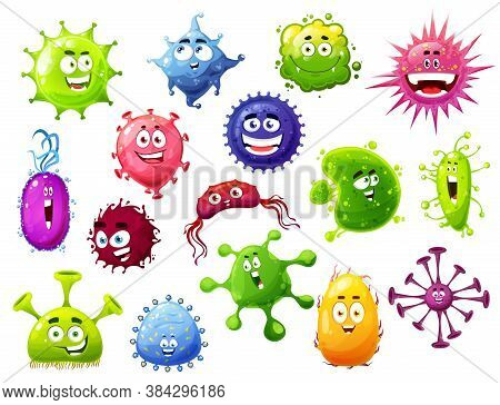 Cartoon Viruses, Vector Cute Bacteria And Germs Characters With Funny Faces. Smiling Pathogen Microb