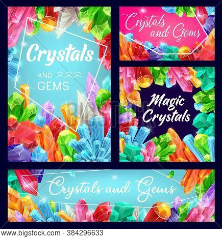 Crystals, Gemstones And Gem Stone Vector Minerals. Gemstones And Jewel Diamond, Gem Minerals Mining.