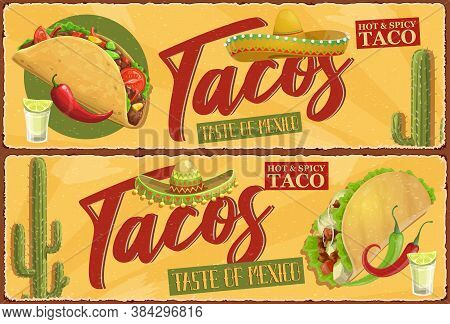Mexican Tacos Retro Banners. Mexican Street Food Meal, Tacos With Meat, Lettuce And Hot Chili Pepper