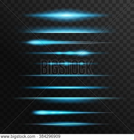 Light Flare And Sparks, Blue Neon Flashes, Glow Vector Lines. Glowing Illumination, Starlight Beams,