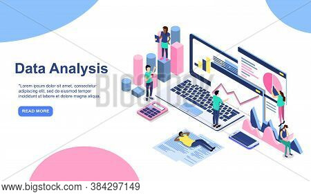 Data Analysis Modern Flat Design Isometric Concept. Analytics And People Concept. Landing Page Templ