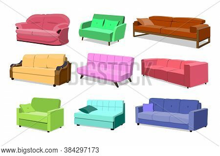 Sofa Colored Vector Set. Comfortable Couch Collection Isolated On White Background For Interior Desi