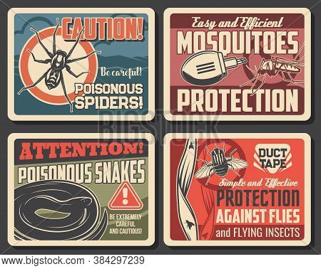 Mosquito And Flies Protection, Snakes And Spider Danger Vector Signs. Disinsection Repellents For In