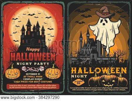 Halloween Haunted Houses Vector Design With Horror Night Ghost And Bats, Pumpkins And Trick Or Treat
