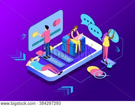 Modern Flat Isometric Design Concept Of E-commerce. People Buying Products In The Online Store, Onli