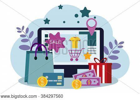 Online Store, Eshop, Internet Selling, Online Marketing. Flat Design Modern Vector Illustration Conc