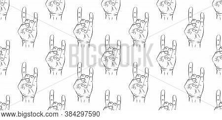 Seamless Pattern With Hands Showing Cool Rock And Roll Signs. Background For Your Design. Vector Ill