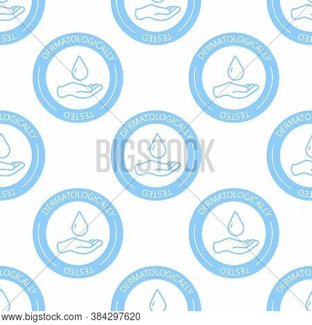 Dermatologically Tested Medal Icon Seamless Pattern Background. Check Mark Stamp Vector Illustration