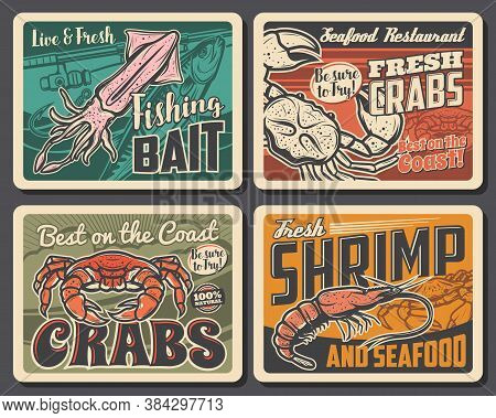 Shrimp, Crab And Squid Vector Retro Posters, Seafood Restaurant Production, Underwater And Open Ocea