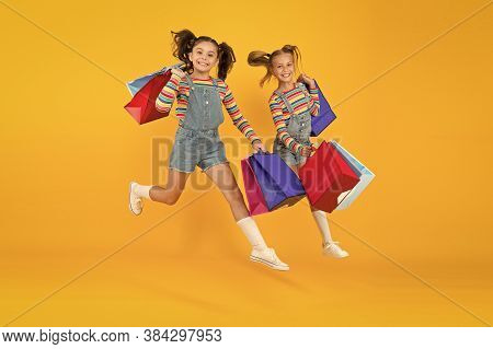 Towards Purchase. Modern Fashion. Kids Fashion. Cute Children Hurry Up For Sale Season. Discount And