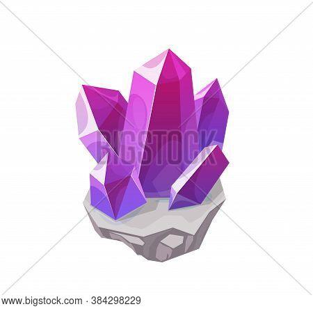 Purple Magic Crystal, Gemstone Vector Rock Or Gem, Isolated Mineral Chrysoberyl, Alexandrite, Amethy