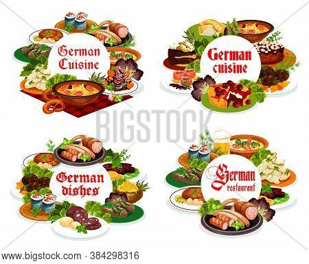 German Cuisine Meals Round Vector Banners. German Soup With Sausages, Cherry Pie And Blutwurst, Cabb