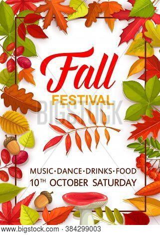 Fall Festival Flyer With Bright Tree Leaves And Mushrooms, Vector Invitation Template For Autumn Sea