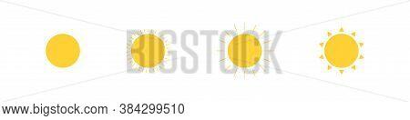 Sun, Simple Icon Set. Sunshine Illustration, Light Isolated Concept In Vector Flat