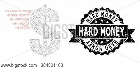 Hard Money Textured Seal And Vector American Dollar Mesh Model. Black Stamp Seal Has Hard Money Tag