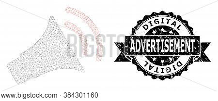 Digital Advertisement Textured Stamp Seal And Vector Announce Horn Mesh Model. Black Seal Contains D
